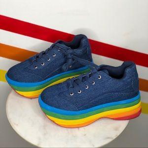NEW Jeffrey Campbell rainbow brainy platforms